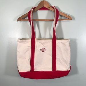 LL Bean boat and tote canvas bag with insignia